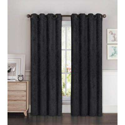 Blackout Faux Suede 54 in. W x 84 in. L Room Darkening Grommet Extra Wide Curtain Panel in Charcoal