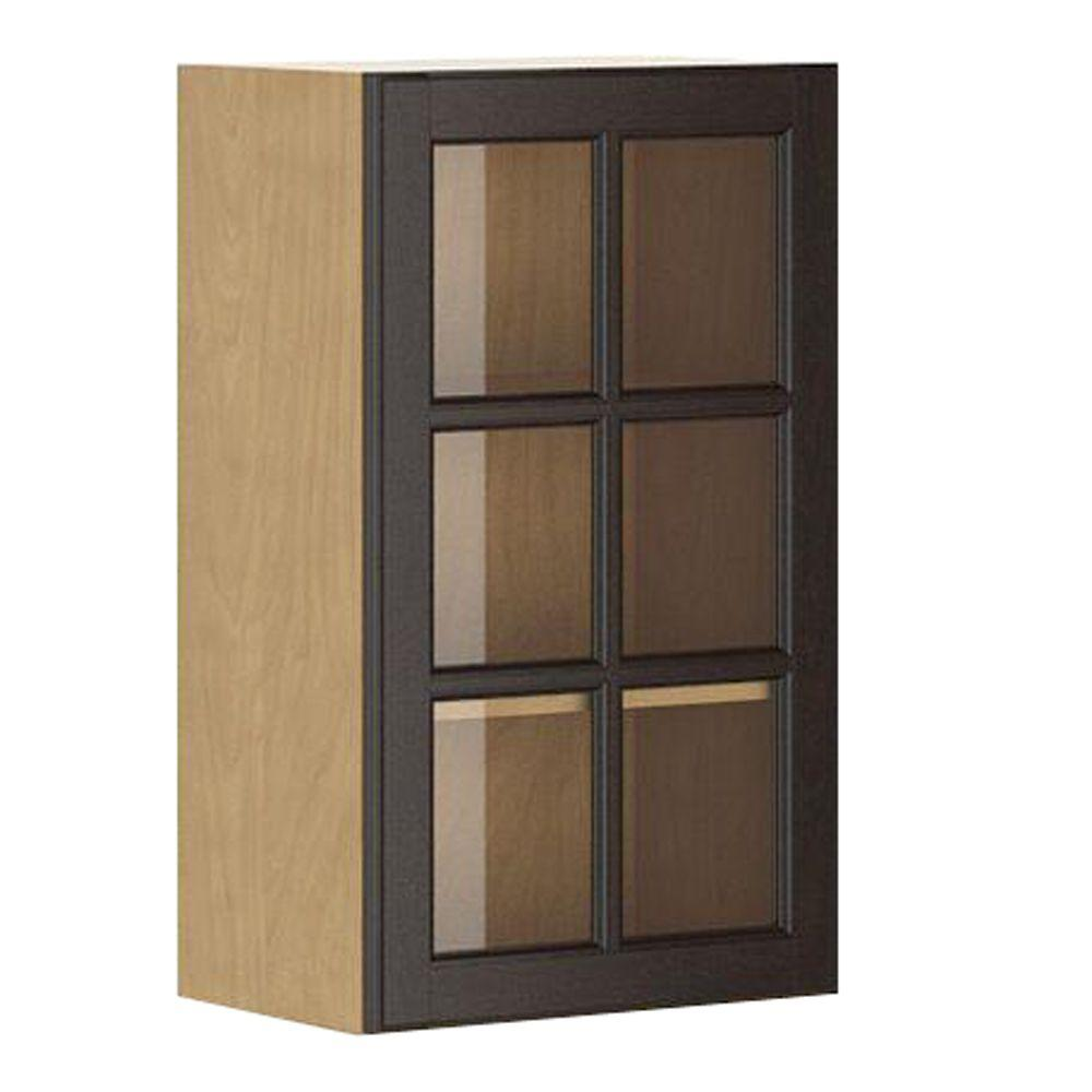eurostyle naples ready to assemble 18 x 30 x 12 5 in wall cabinet in maple melamine and glass. Black Bedroom Furniture Sets. Home Design Ideas