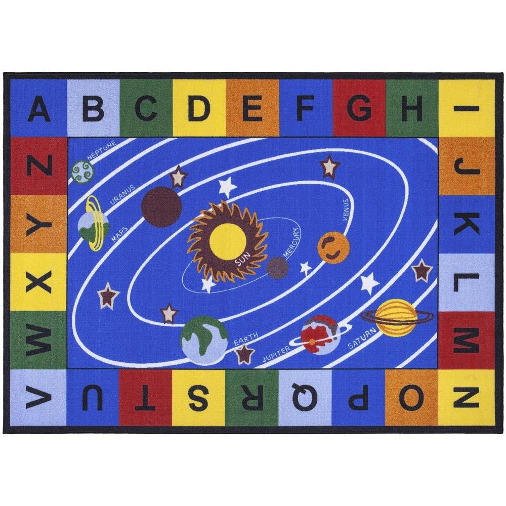 Ottomanson Jenny Collection Blue Solar System Design 5 ft. x 7 ft. Non-Slip Kids Area Rug