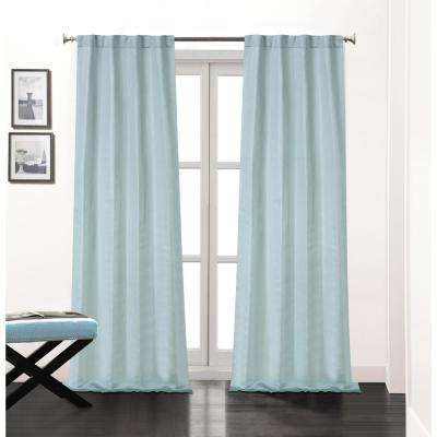 Soho 84 in. L Polyester Double Layer Lined Rod Pocket Window Curtain Panel Pair in Aqua (2-Pack)