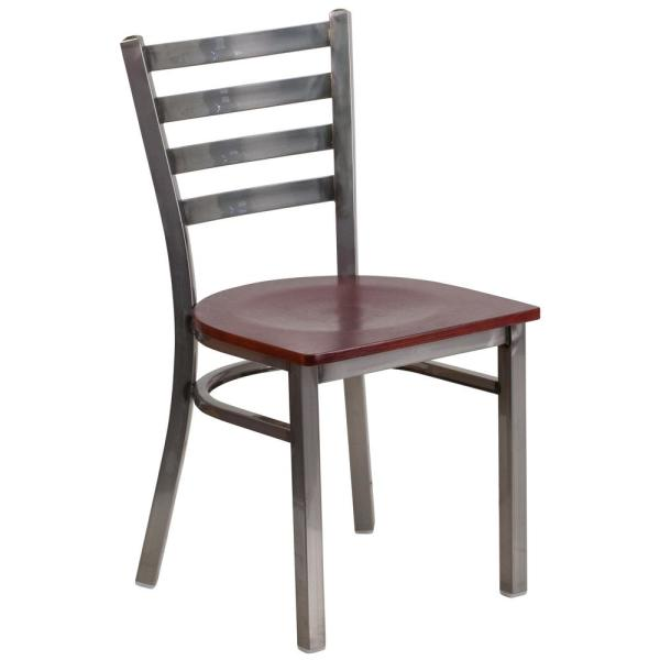 Carnegy Avenue Mahogany Wood Seat/Clear Coated Metal Frame Metal Side Chair