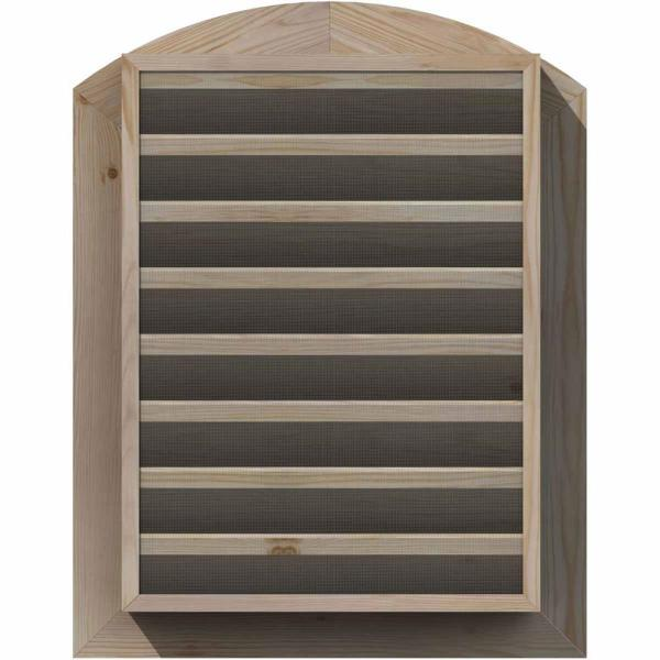 Ekena Millwork 17 In X 35 In Round Top Unfinished Smooth Pine Wood Paintable Gable Louver Vent Gvwar12x3001sfupi The Home Depot