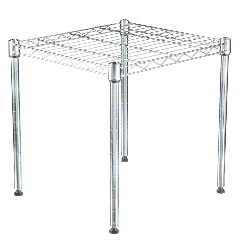 Whitmor Supreme Shelving Collection 15 in. by 15 in. by 14 in. 1-Tier Metal Stacking Shelf in Chrome