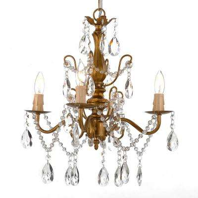 Contemporary 4-Light Gold Iron and Crystal Chandelier
