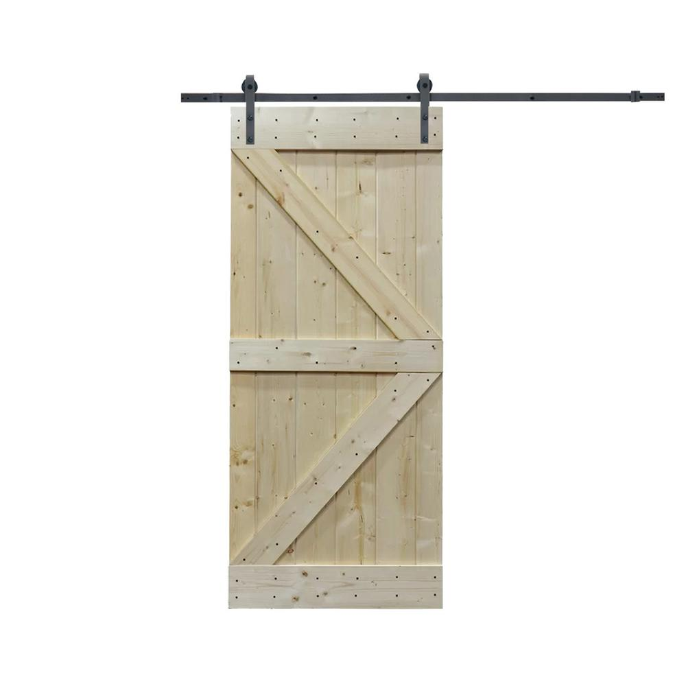 CALHOME 36 in. x 84 in. K Design Knotty Pine Wood Sliding Barn Door with Hardware Kit, Unfinished was $414.0 now $289.0 (30.0% off)