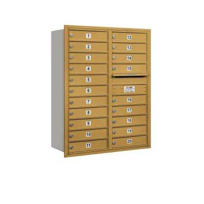 41 in. H x 31-1/8 in. W Gold Rear Loading 4C Horizontal Mailbox with 20 MB1 Doors