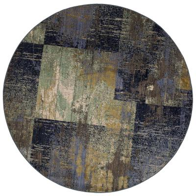 Empire Periwinkle 8 ft. x 8 ft. Round Geometric Area Rug