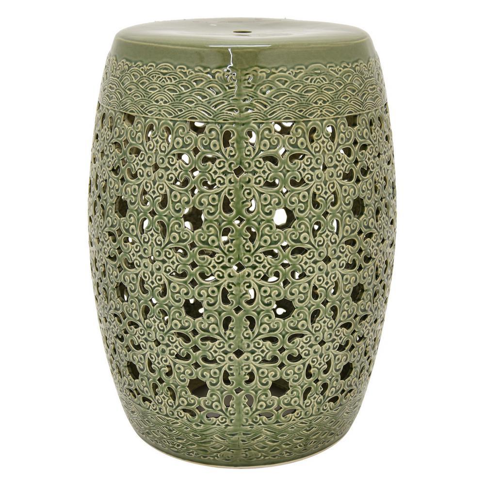 Merveilleux Green Ceramic Garden Stool