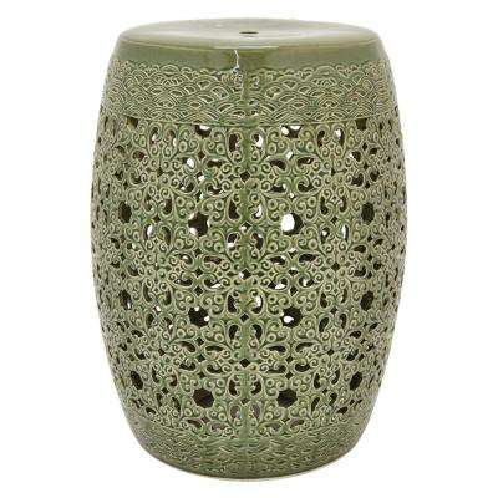 18.5 in. Green Ceramic Garden Stool