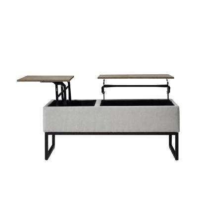 Rio Dark Grey Functional Bench with Storage and Shelf Tufted Microfiber Top