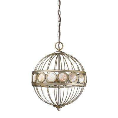 Aria 3-Light Indoor Antique Silver Chandelier - Pewter - Chandeliers - Lighting - The Home Depot