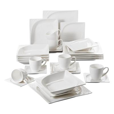MONICA 30-Piece Casual White Porcelain Dinnerware Set Dinner Plates Cups and Saucers Set(Service for 6)