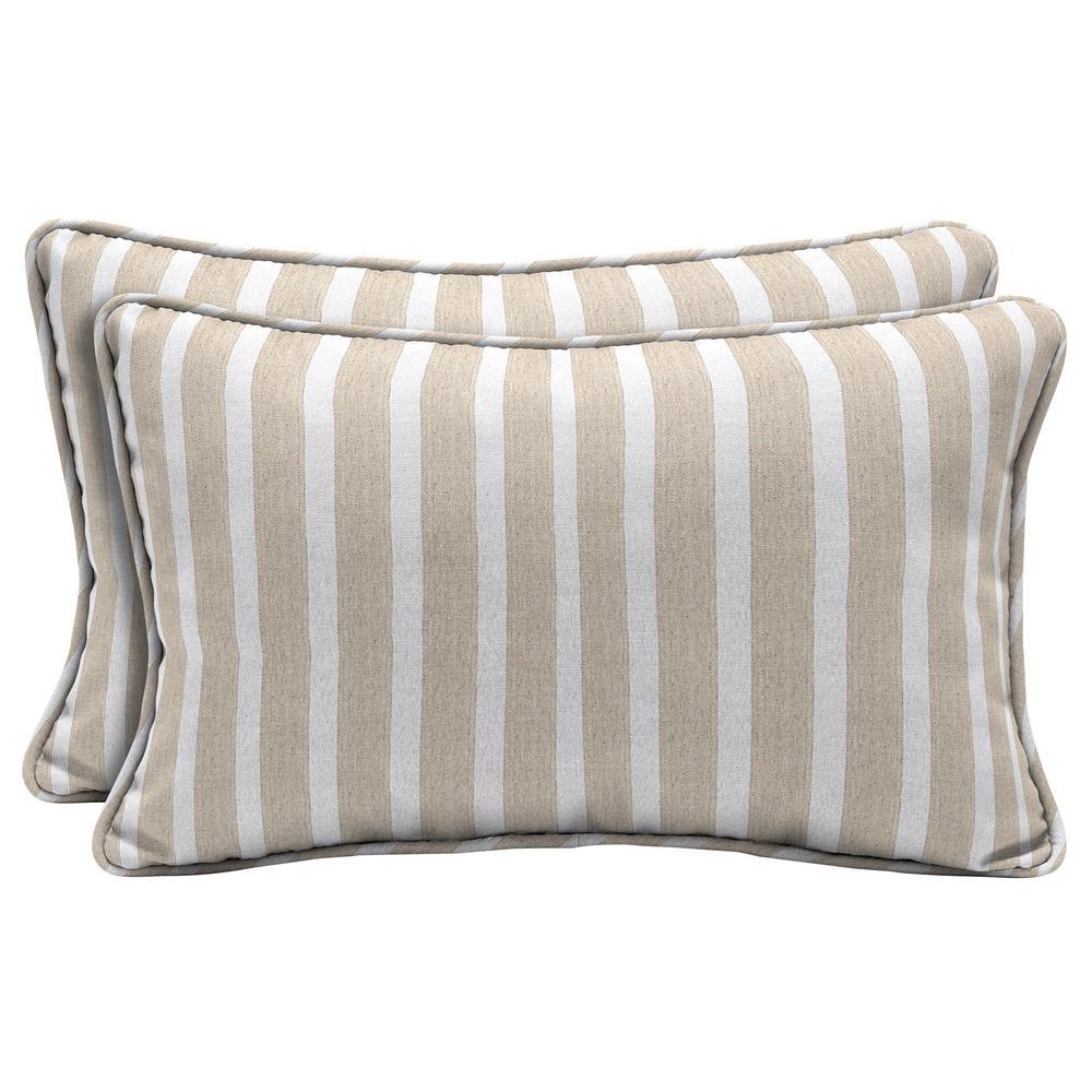 Sunbrella Shore Linen Lumbar Outdoor Throw Pillow (2-Pack)