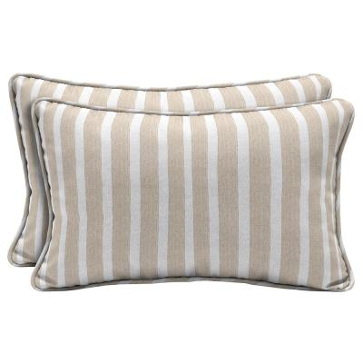 Sunbrella Shore Linen Lumbar Outdoor Throw Pillow (2-Pack)