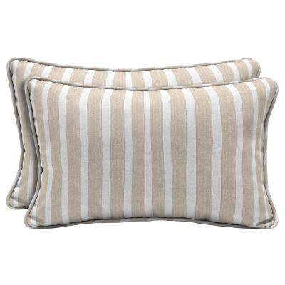 Superieur Sunbrella Shore Linen Lumbar Outdoor Throw Pillow (2 Pack)