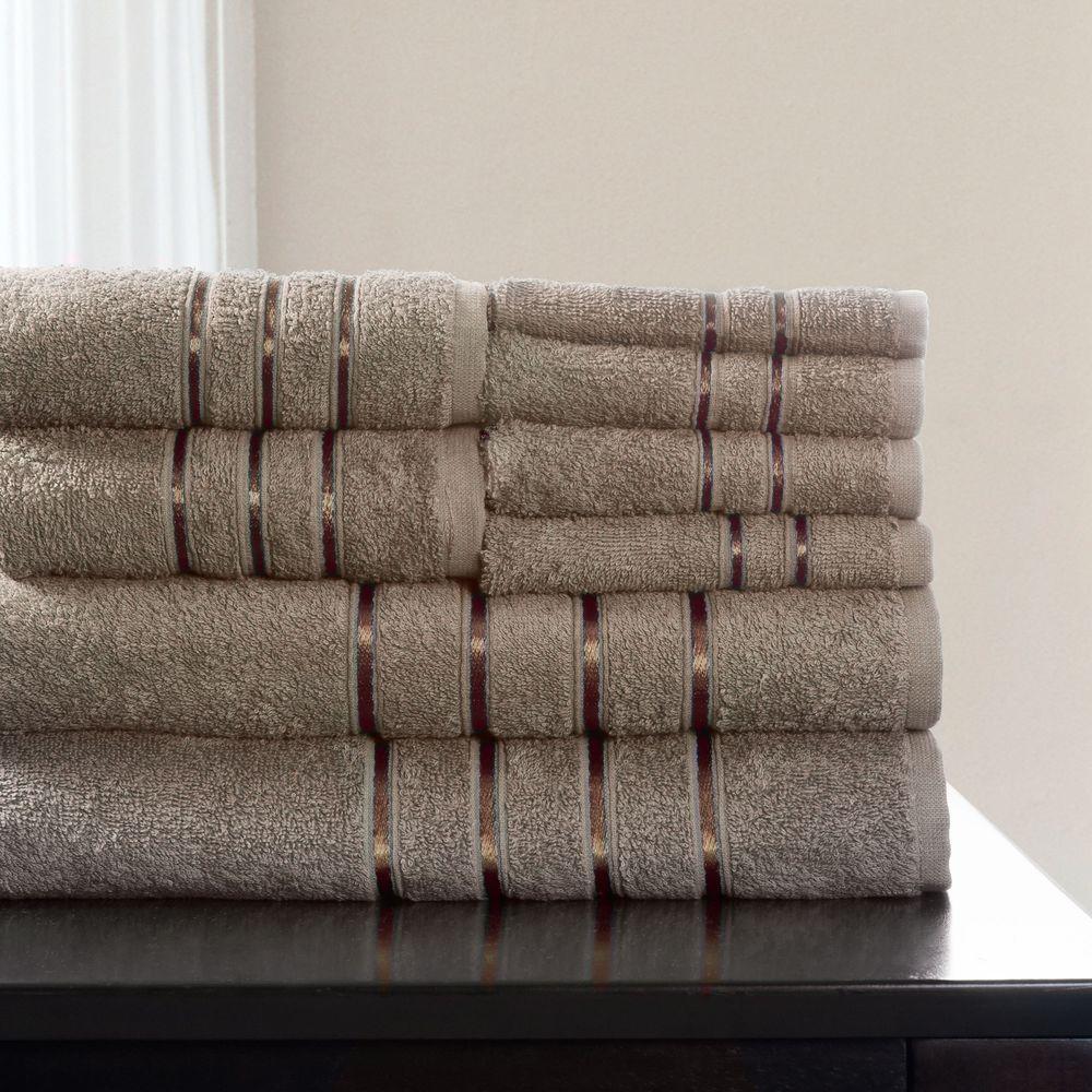 100% Cotton Bath Towel Set in Taupe (8-Piece)