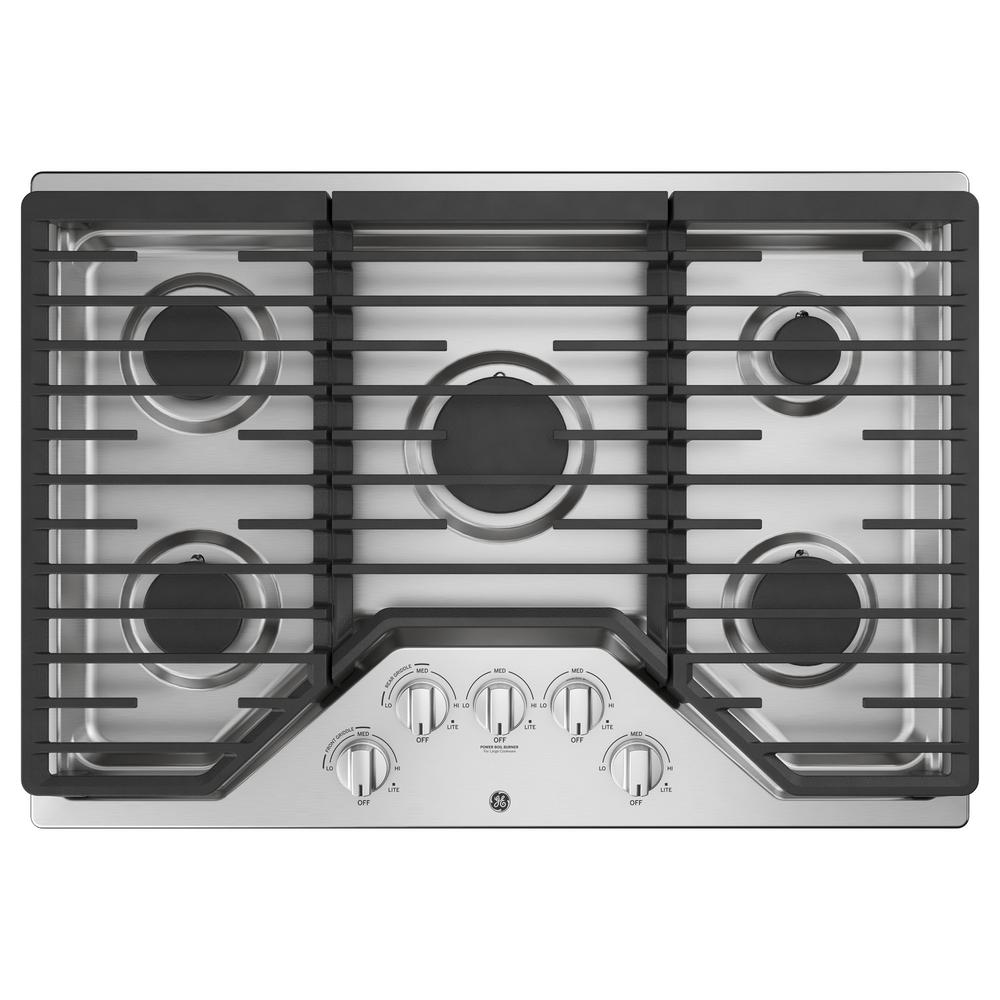 GE 30 in. Gas Cooktop in Stainless Steel with 5 Burners Including Power Burners, Silver was $1079.0 now $847.8 (21.0% off)