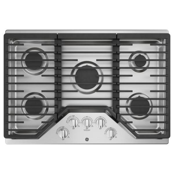 GE 30 in. Gas Cooktop in Stainless Steel with 5 Burners Including Power Burners