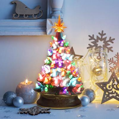 15 in. Multi-Color Ceramic Tabletop Christmas Tree with Lights