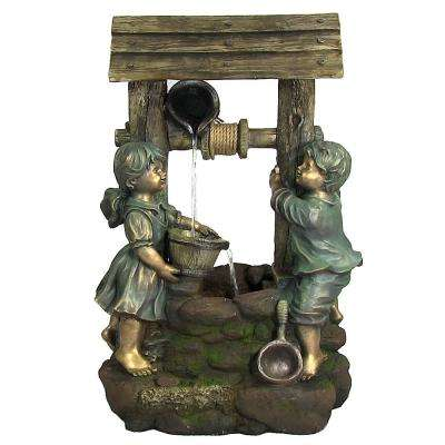 39 in. Children at the Well Outdoor Water Fountain with LED Light
