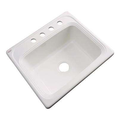 Wellington Drop-in Acrylic 25.in 4-Hole Single Bowl Kitchen Sink in Biscuit