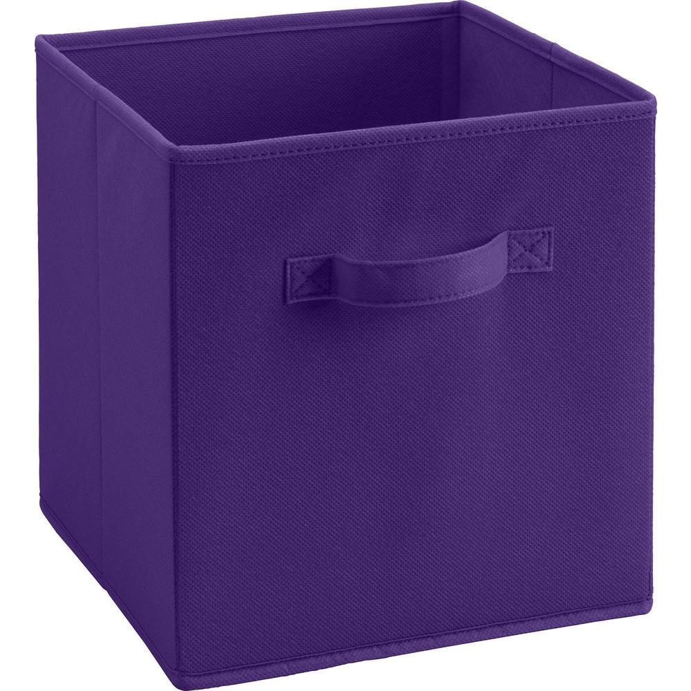 10.5 in. x 11 in. x 10.5 in. 5.25 Gal. Purple Fabric Storage Bin