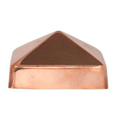 4 in. x 4 in. Copper Pyramid Slip Over Fence Post Cap (For Rough Cut Post)