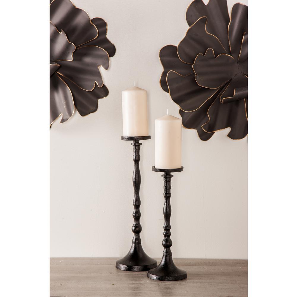 Black Turned Style Iron Candle Holders (Set of 3)