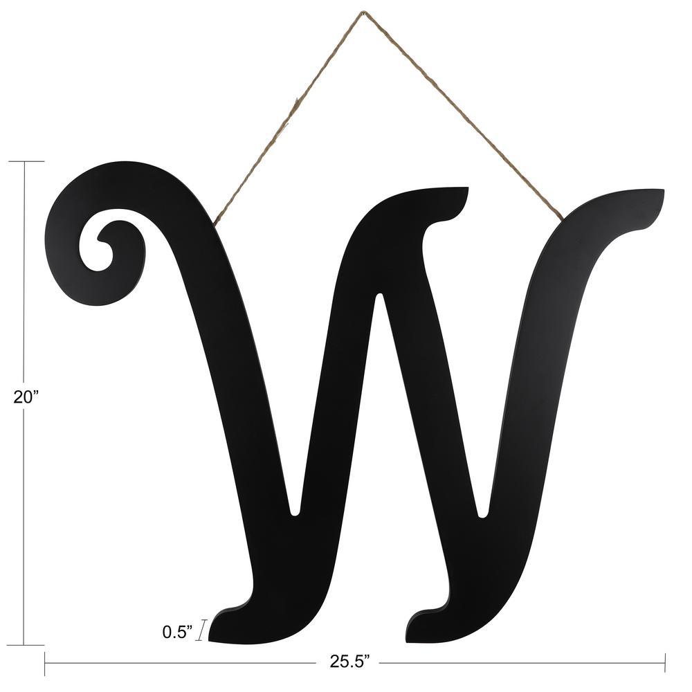 20 in. Black W Script Letter