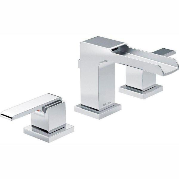 Ara 8 in. Widespread 2-Handle Bathroom Faucet with Channel Spout and Metal Drain Assembly in Chrome