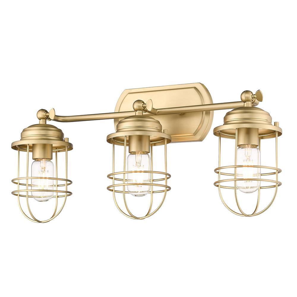 Seaport 8.13 in. 3-Light Brushed Champagne Bronze Vanity Light