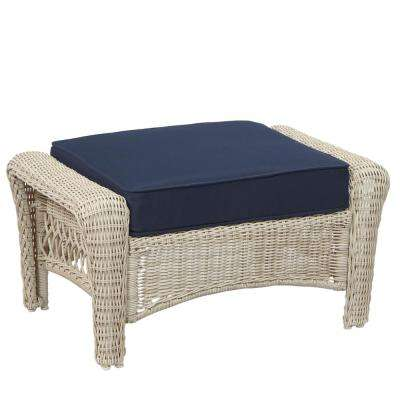 Park Meadows Off-White Wicker Outdoor Ottoman with Midnight Cushion