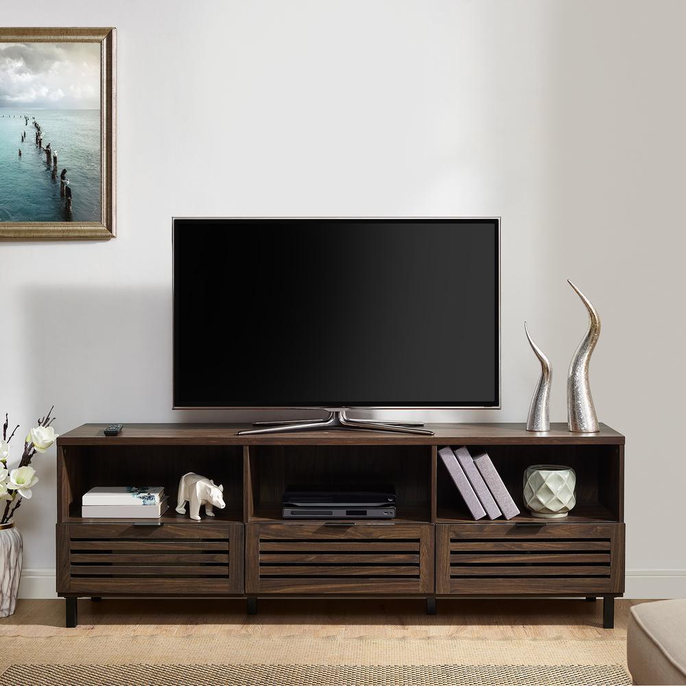70 in. Dark Walnut Jackson Slat Door Media Storage Console TV Stand Entertainment Center