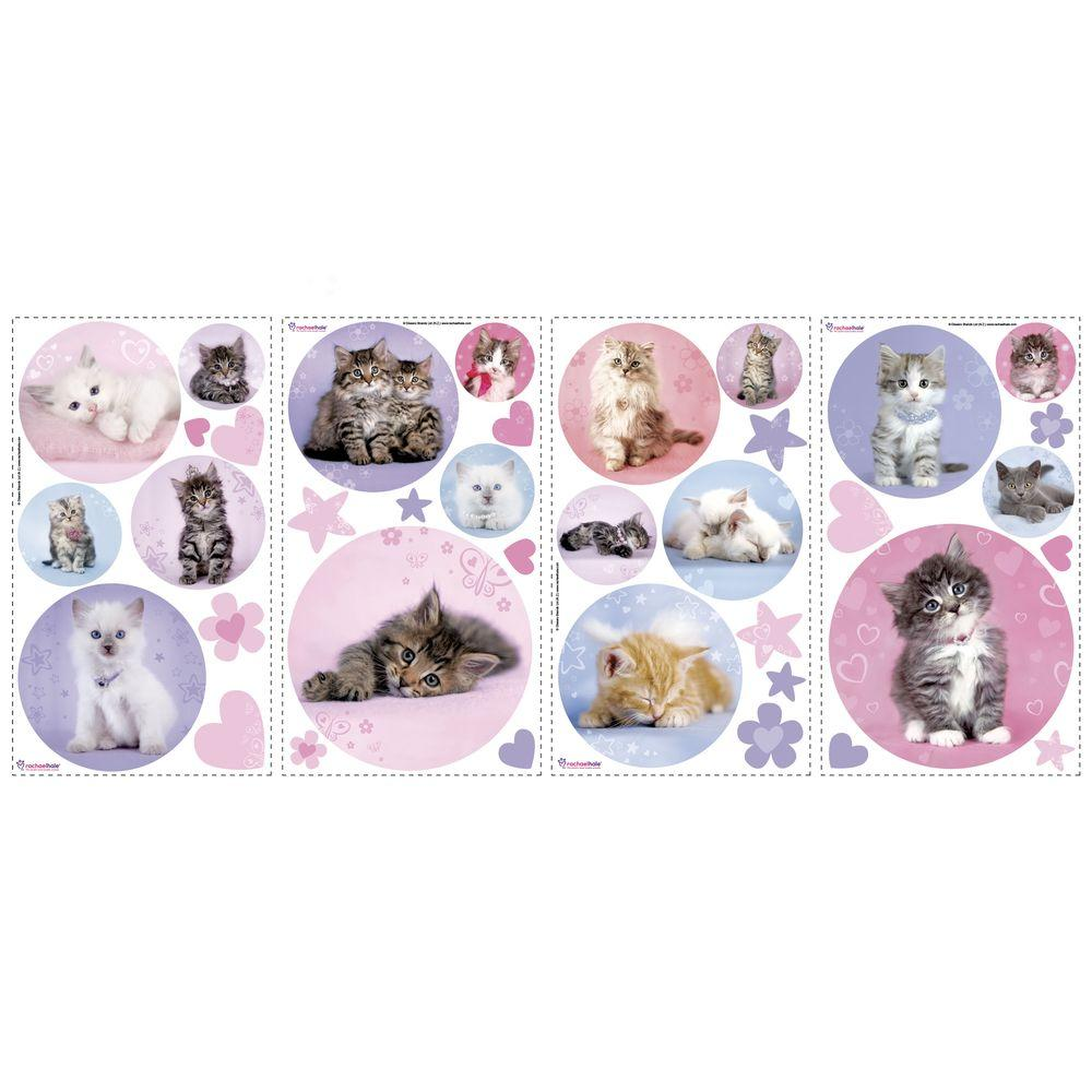 RoomMates 5 in. x 11.5 in. Kitty Dots Peel and Stick Wall Decal