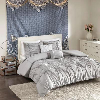 Quinn 4-Piece Grey Twin/Twin XL Solid Duvet Cover Set