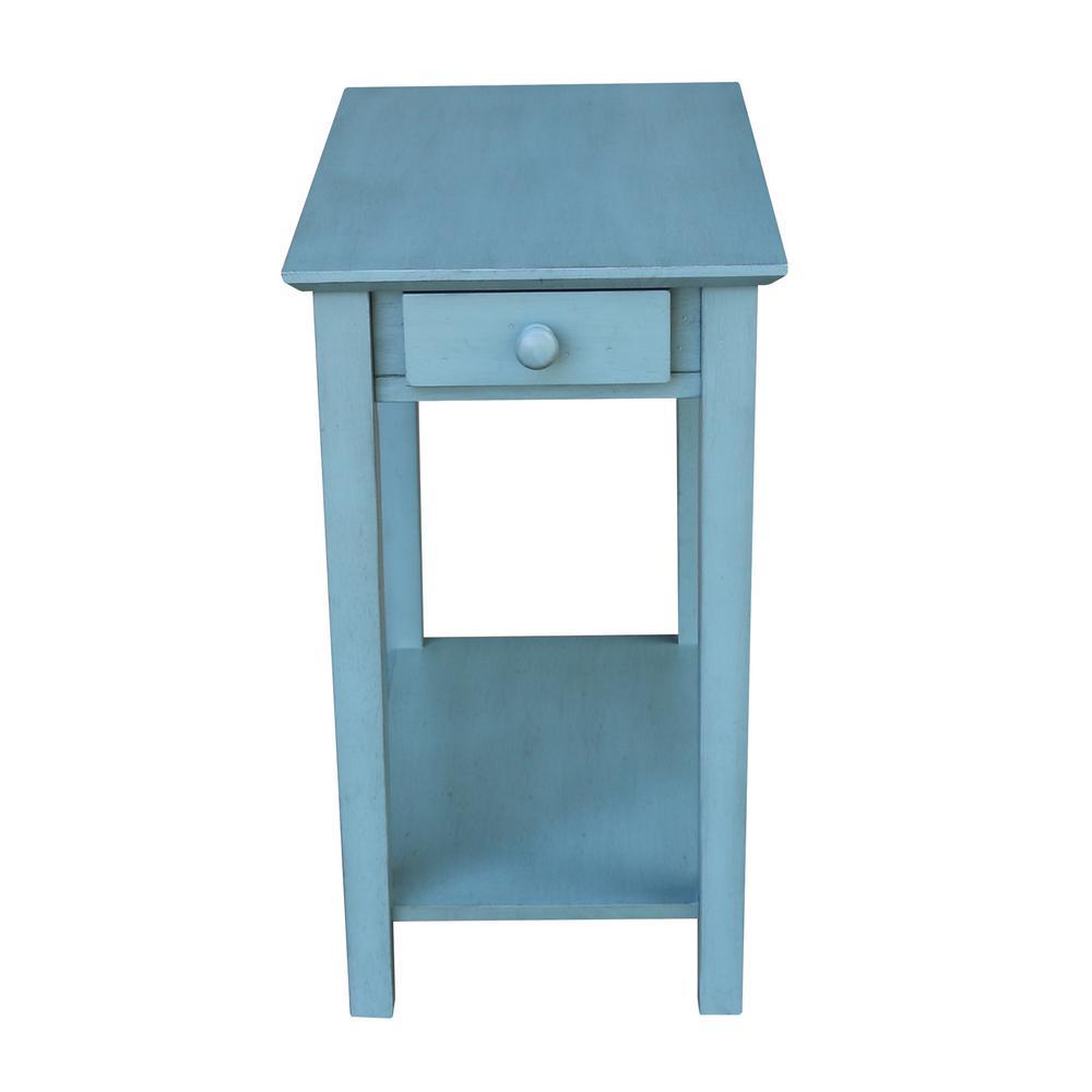 Narrow Ocean Blue Solid Wood End Table