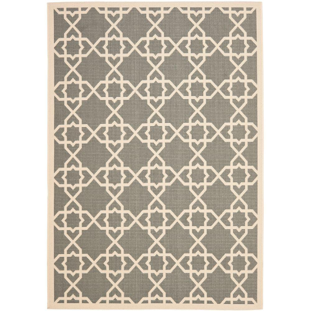 Courtyard Gray/Beige 9 ft. x 12 ft. Indoor/Outdoor Area Rug