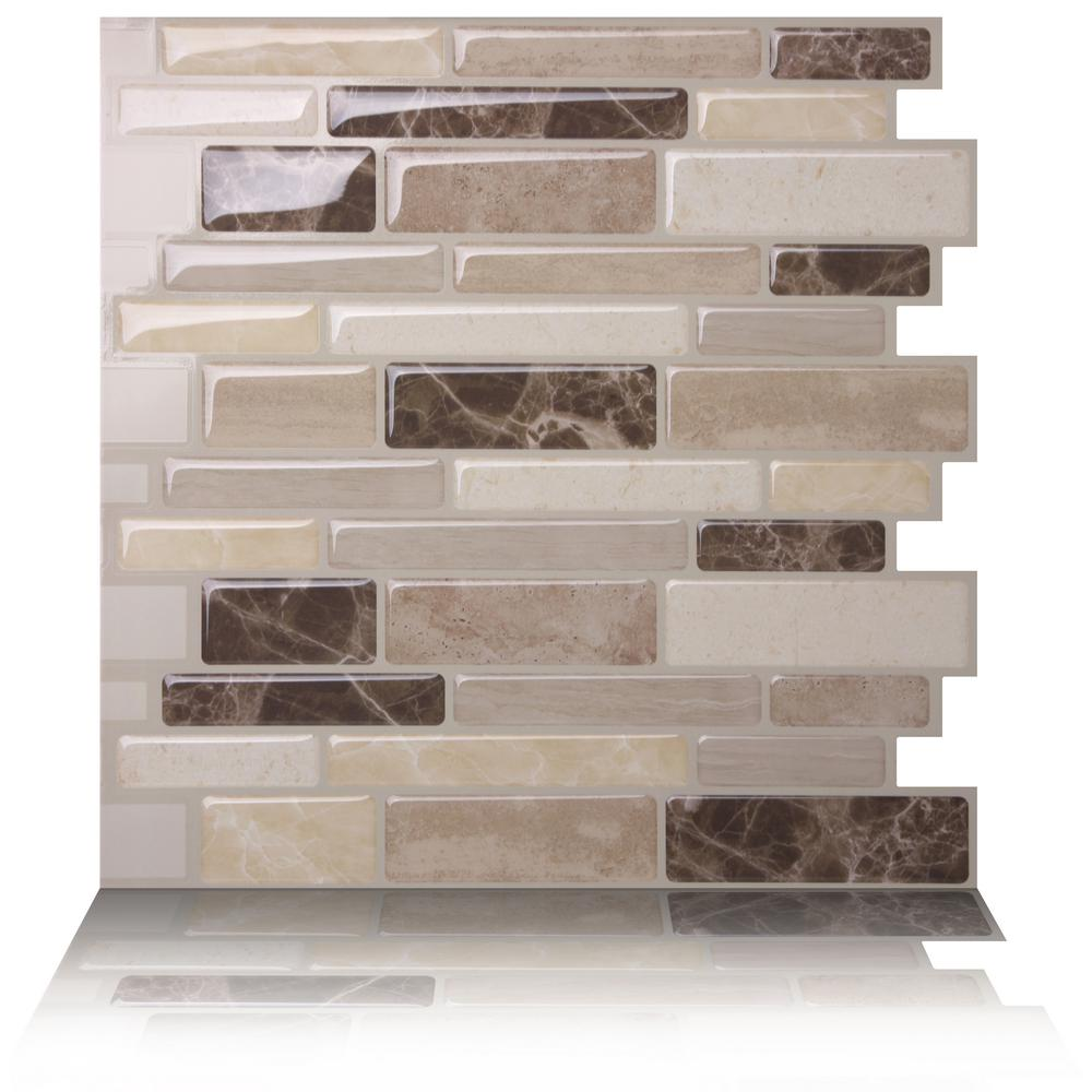 Tic tac tiles polito bella 10 in w x 10 in h peel and - Decorative wall tiles for kitchen backsplash ...