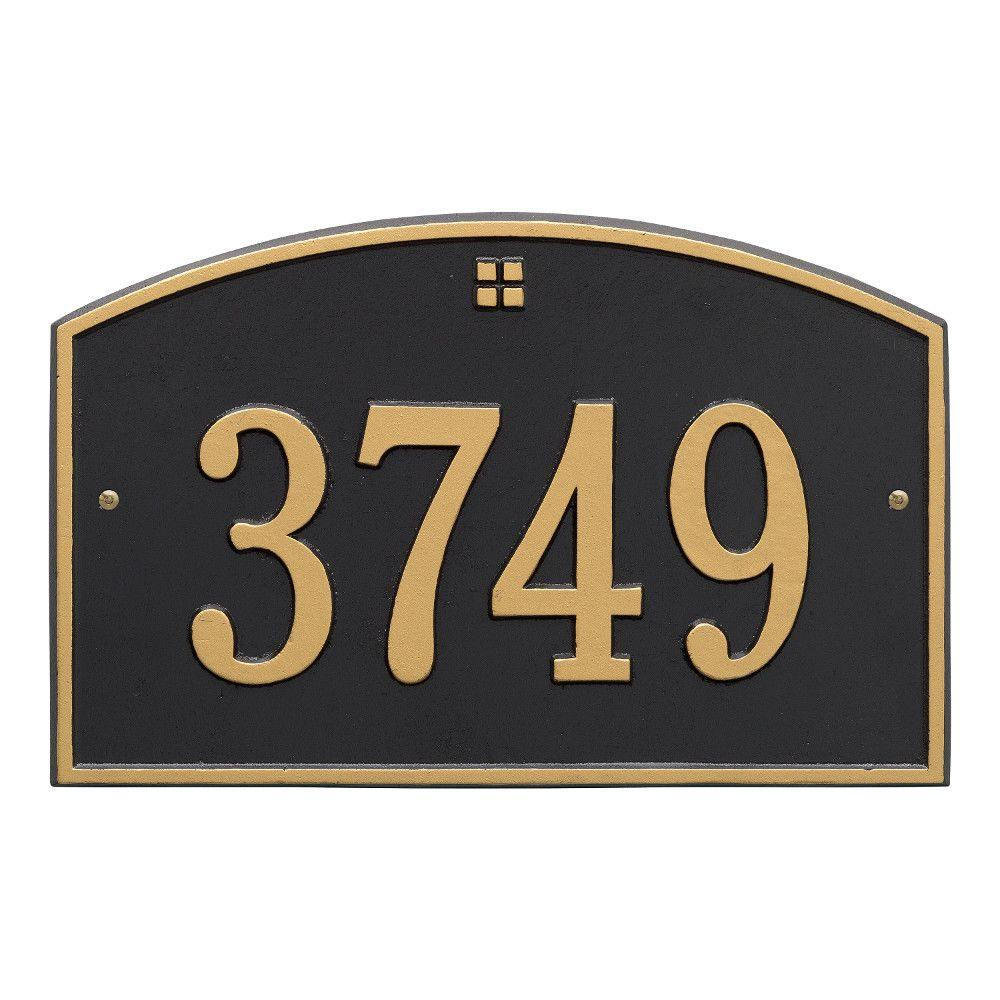 Cape Charles Standard Rectangular Black/Gold Wall 1-Line Address Plaque