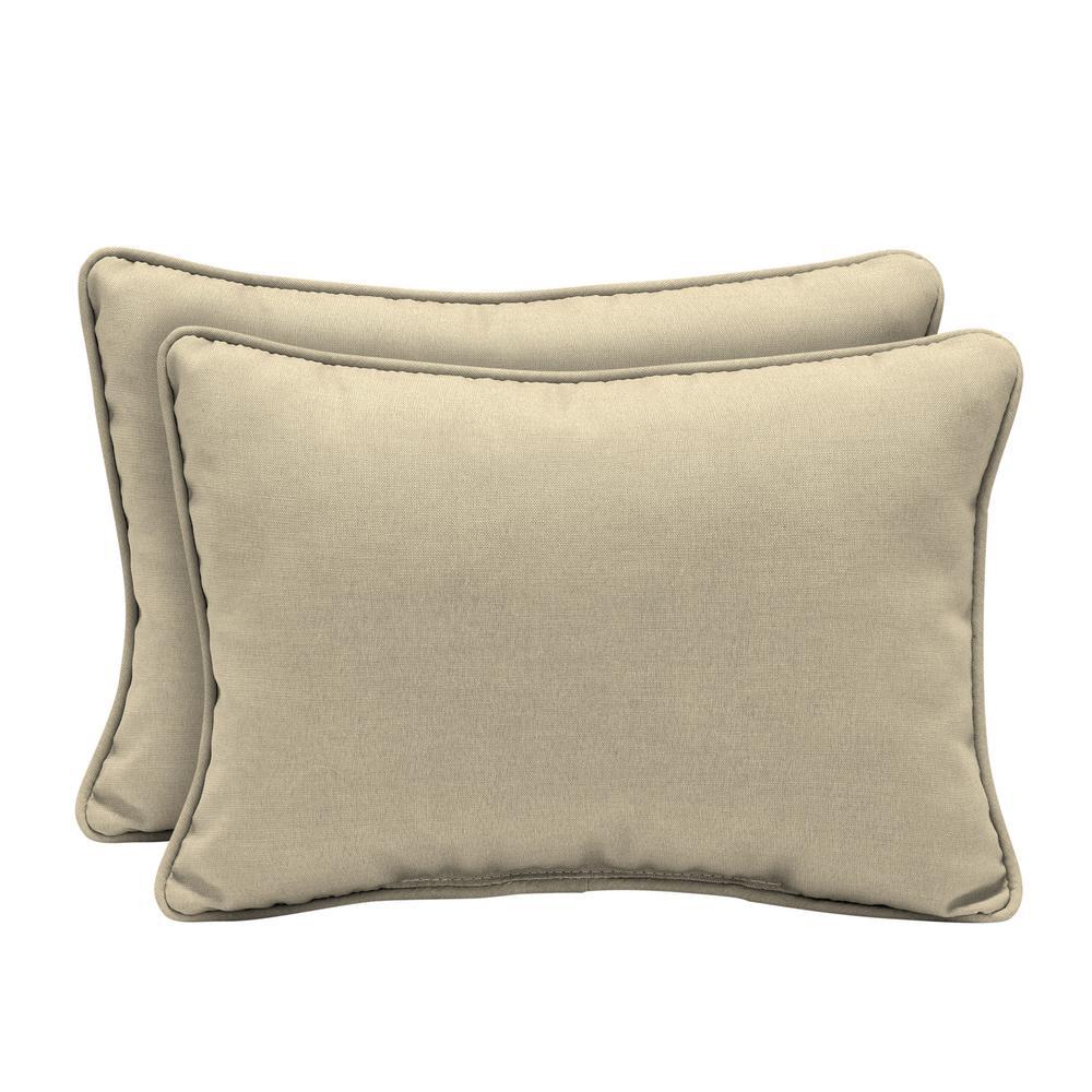 22 x 15 New Tan Leala Texture Oversized Lumbar Outdoor Throw Pillow (2-Pack)