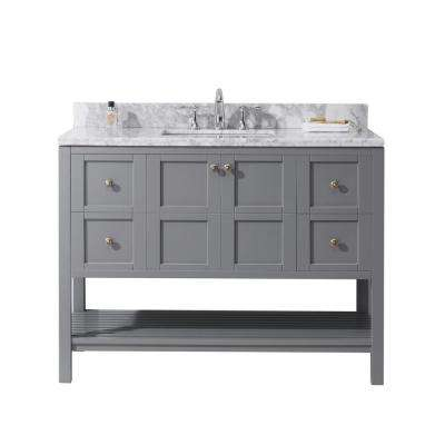 Winterfell 48 in. W Single Bath Vanity in Grey with Marble Vanity Top and Square Basin with Faucet