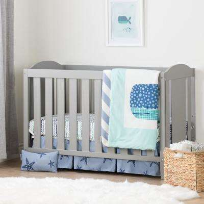 Angel Soft Gray and Blue Crib with Toddler Rail and Little Whale 4-Piece Bed Set