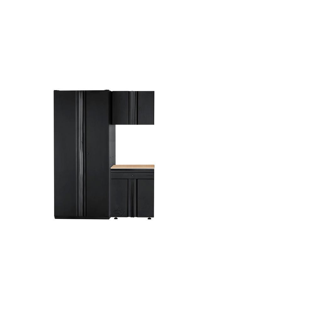 Husky Heavy Duty Welded 64 in. W x 81 in. H x 24 in. D Steel Garage Cabinet Set in Black (3-Piece)