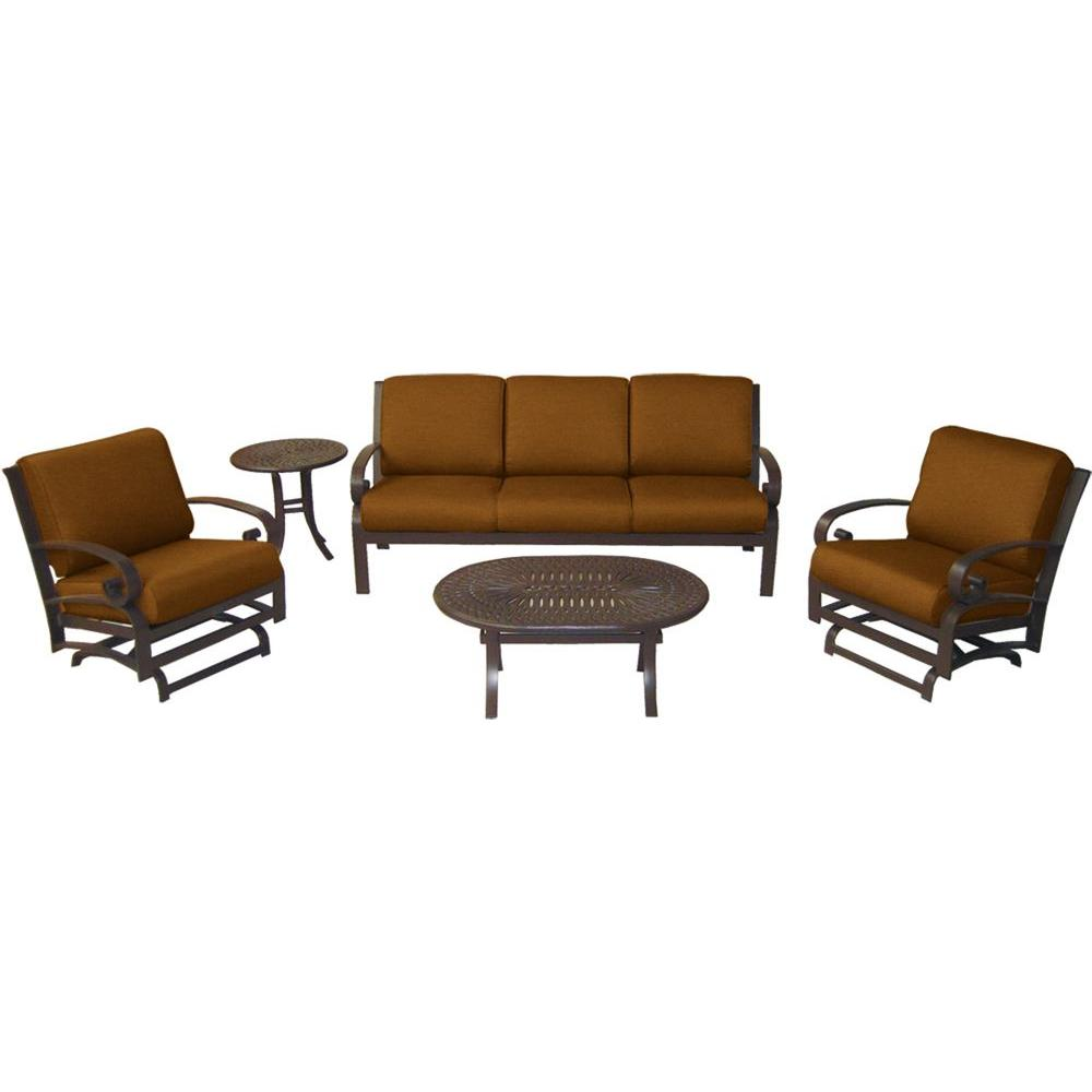 Tradewinds Valle Vista 5-Piece Spectrum Sierra and Java Patio Seating Set-DISCONTINUED