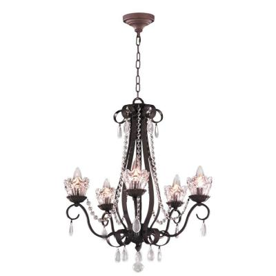 Gardenia Collection 5-Light Dark Bronze and Clear Crystal Chandelier