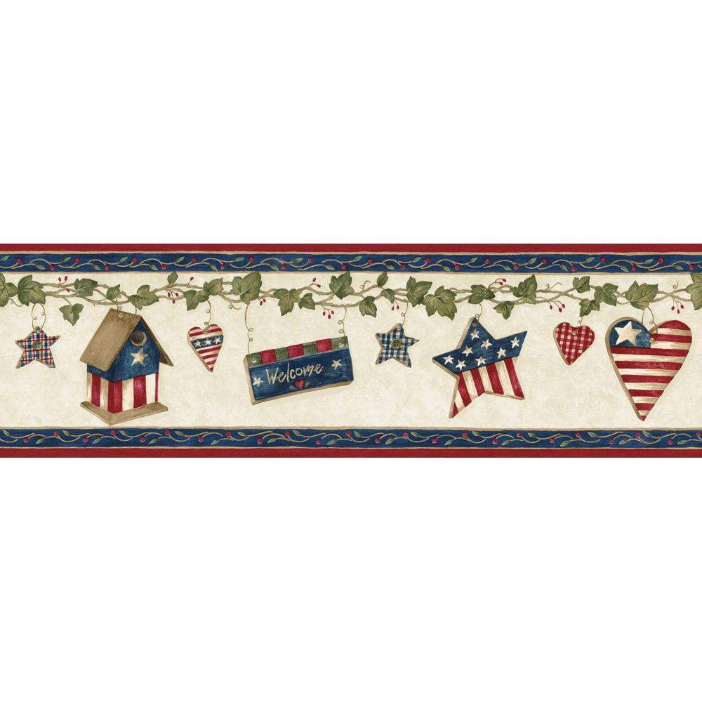 The Wallpaper Company 6.25 in. x 15 ft. Red, White and Blue American Ivy Border