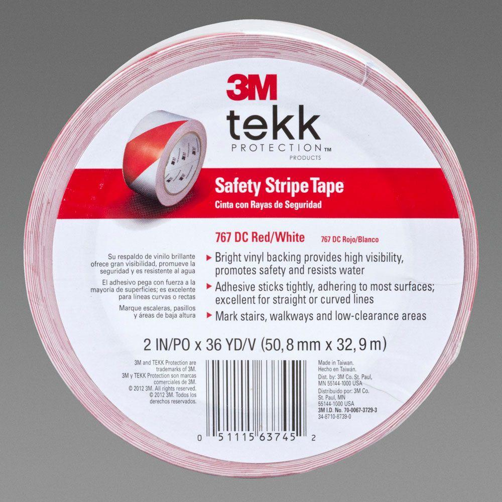 3M 2 in. x 36 yd. Red and White Safety Stripe Tape