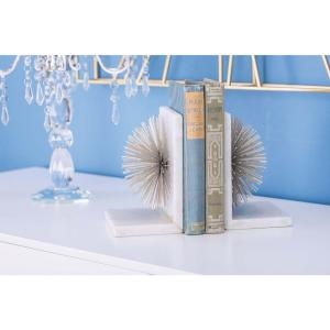 7 inch x 5 inch Silver Metal and Marble Star Bookends by