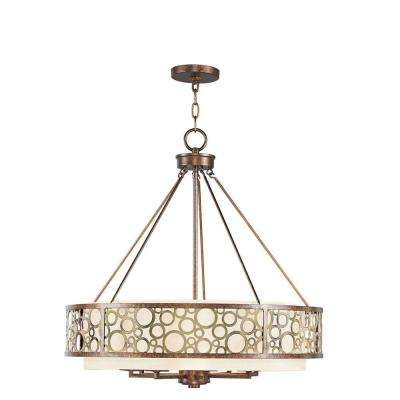 8-Light Palatial Bronze Incandescent Ceiling Chandelier with Gilded Accents