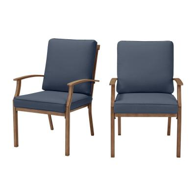 Geneva Brown Wicker Outdoor Patio Stationary Dining Chair with CushionGuard Sky Blue Cushions (2-Pack)